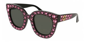 GG0116S 005 SHINY BLACK/ROSE STRASS