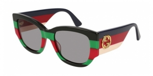 GG0276S-005 SHINY BLACK/WEB GREEN-RED-GREEN