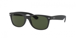 New Wayfarer RB2132 646231 TOP RUBBER BLACK ON SHINY BLK