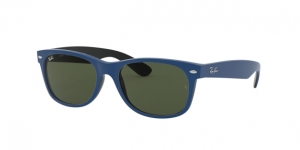 New Wayfarer RB2132 646331 TOP RUBBER BLUE ON SHINY BLACK