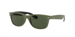 New Wayfarer RB2132 646531 TOP RUBBER MILITARY GREEN ON B