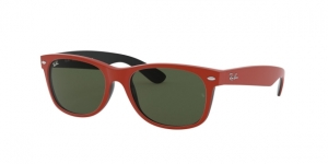 New Wayfarer RB2132 646631 TOP RUBBER RED ON SHINY BLACK