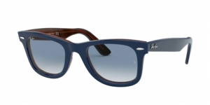 Original Wayfarer RB2140 12783F TOP BLUE ON RED HAVANA
