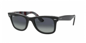 Original Wayfarer RB2140 13183A BLACK ON CHEVRON GREY/BURGUNDY