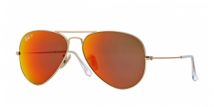 Aviator Large Metal RB3025-112/4D MATTE GOLD BROWN MIRROR RED POLAR