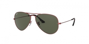 Aviator Large Metal RB3025 918831 SAND TRASPARENT RED