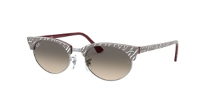 RAY-BAN Clubmaster Oval RB3946 130732 TOP WRINKLED GREY ON BORDEAUX