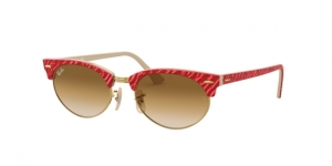 RAY-BAN Clubmaster Oval RB3946 130851 TOP WRINKLED RED ON BEIGE